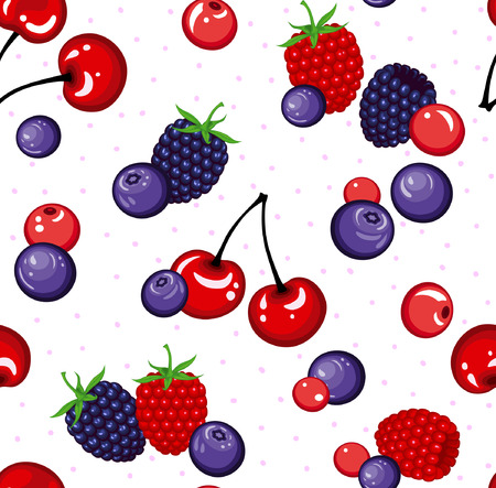 blackberry: Seamless Pattern with Different Berries . Blackberry,Cherry, Raspberry, Bleuberry Seamless Texture