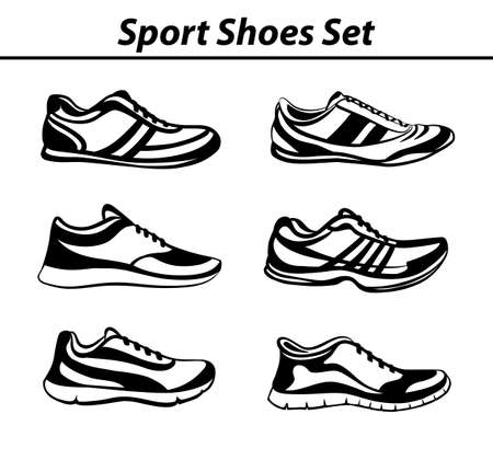 sport shoes: Sport Shoes Set. Fitness Shoes Collection in Black and White. Indoor, Outdoor, Running, Jogging, Fitness, Tennis , Walking, Training Sneakers.