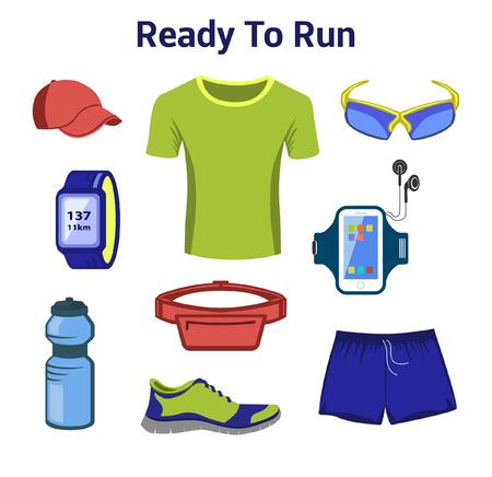Courir Gear For Man. Course Accessoires pour Homme. Set de remise en forme. Chaussures de sport, Fitness Drink, T-shirt, Gps Watch, Ceinture Sac, Lunettes Sport, Baseball Cap.