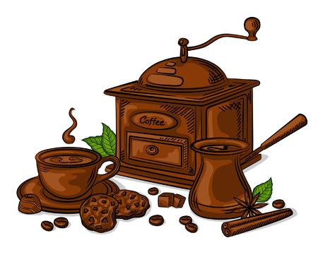 Coffe Set Vector Illustration. Kopje koffie, bonen, slijpmachine, kaneel, suiker, koffie pot en koekjes
