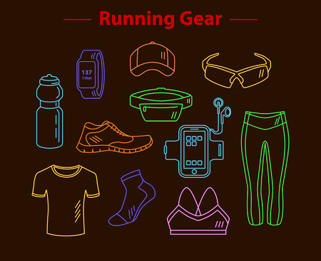 armband: Running Gear For Men And Women. Linear Style Running Accessories. Sport Clothes, Gps Watch, Sport Water Bottle, Armband, Fitness Shoes, Cap, Belt Bag, Sport Socks and Glasses.