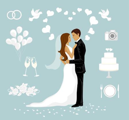 Pares de la boda ilustración vectorial. La novia y el novio de tarjetas de boda de diseño. Las palomas blancas, cinta, flores de la boda, gafas shampagne, corazones, globos, rosas, pastel de bodas, cámara de fotos. Elementos para su Invitaciones de la boda fijados.