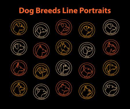 20 Dog Breeds Line Badges Set. Dog Line Profiles Portraits Collection. Boxer, Dachshund, Chihuahua, French Bulldog, Beagle, Labrador, Retriever, Bernese, Jack Russell, German Shepherd, Husky, Doberman, Mastiff, Schnuazer, Setter, Great Dane