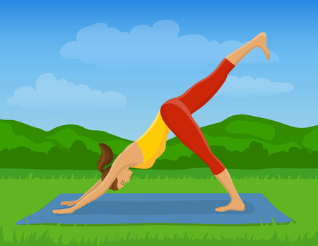 downward: Woman doing Yoga Exercise Outdoor Vector Illustration. Yoga Downward Facing Dog leg up Pose. Yoga Class Outside