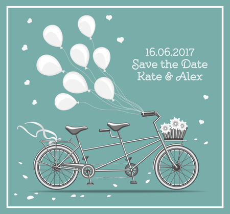 tandem bicycle: Tandem Bicycle with Baloons Vector Illustration For Wedding Designs. Save the Date Card. Illustration