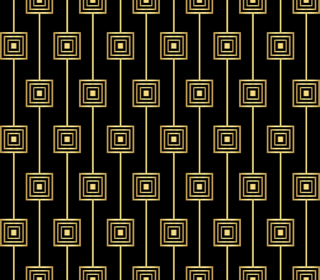 Geometric Seamless Pattern with Golden Squares on Black Background Illusztráció
