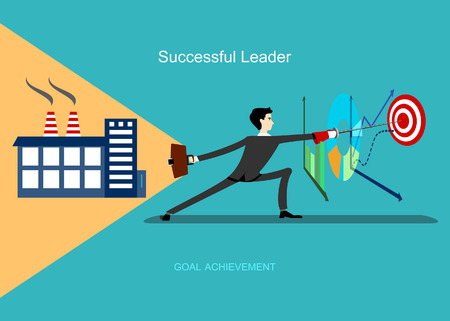 smart goals: Top manager with production portfolio in one hand and foil in other hand hits the target. Successful leader achieves goal. Smart businessman leads company to success. Flat business concept background