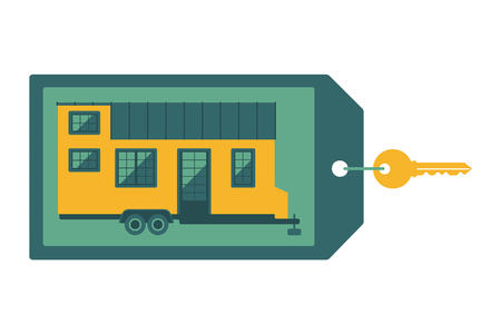 tiny: Key with label on which depicts a small house. Flat design concept for the sale of tiny home.