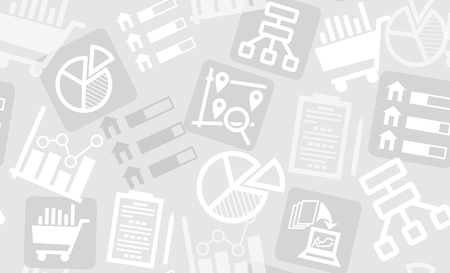 halftones: Seamless pattern from research and analytics icons. Perfect for background of presentation, web banner or promotion material. Illustration
