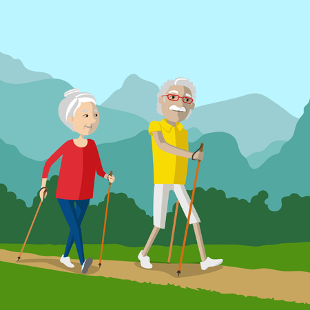 couple hiking: Nordic walking - active pensioners outdoor. Senior couple hiking in the nature Illustration