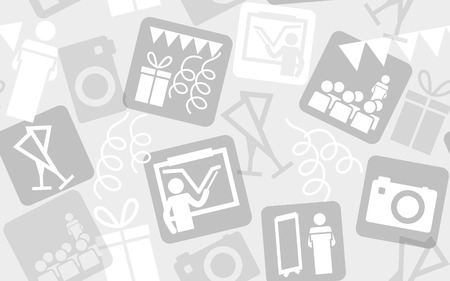 halftones: Seamless pattern from event icons. Perfect for background of presentation; web banner or promotion material. Vector illustration