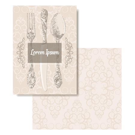 rehearsal: Classic silverware set. Hand drawn decorative fork, knife and spoon with accompanying pattern. Perfect for Menu, Dinner Party Invitation, Wedding Rehearsal Dinner Invitation