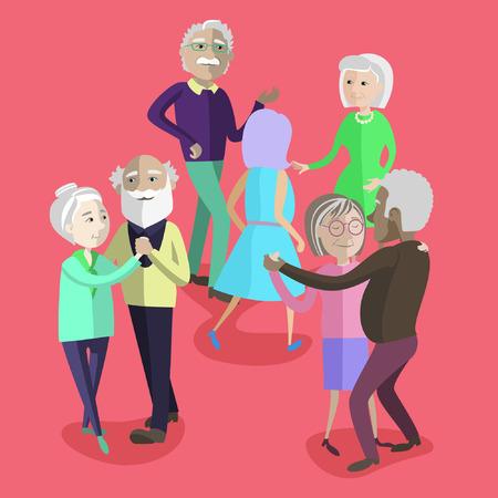 Vector illustration of Elderly people dancing at the party. Happy mature people dancing. Elderly activity