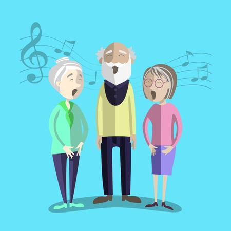 mature: Vector illustration of Happy Senior Citizen sing. Performance of mature people.