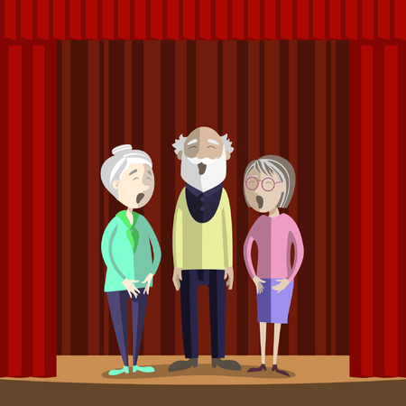 sing: Elderly people sing on the stage of amateur theatre. Performance of senior people.