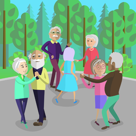 Active retired people dancing in a park. Senior people have fun in nature. Stock Illustratie