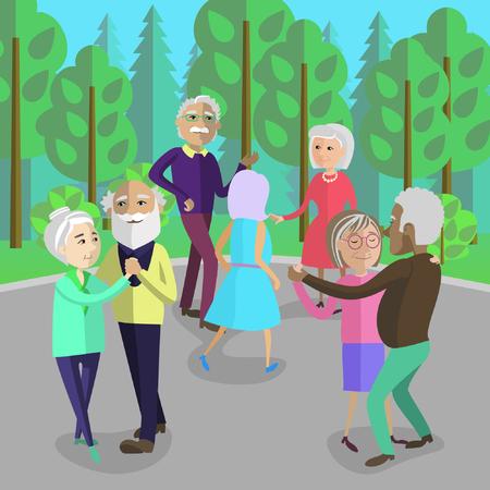 tanzen cartoon: Aktive Senioren in einem Park tanzen. Ältere Leute haben Spaß in der Natur.