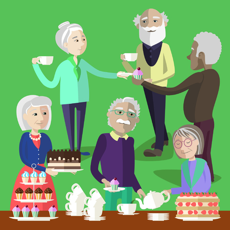 mature: Elderly people have a tea party. Mature people treat to tea and cake.