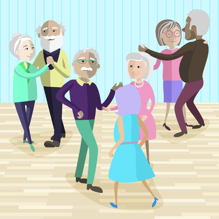 Vector illustration of Elderly people dancing at the party. Happy mature people dancing. Elderly activity