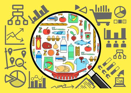 Recherche et analyse de biens de consommation panier. Étude de marché. Concept de marketing. Panier. Stratégie pour entreprise prospère. Ligne style vecteur illustration