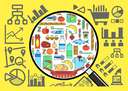 consumer goods: Research and analysis of consumer goods basket. Market research.  Marketing concept. Shopping basket. Strategy for successful business. Line style vector illustration Illustration