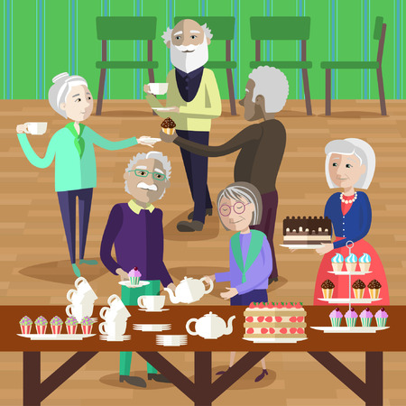 party cartoon: Elderly people have a tea party. Mature people treat to tea and cake.