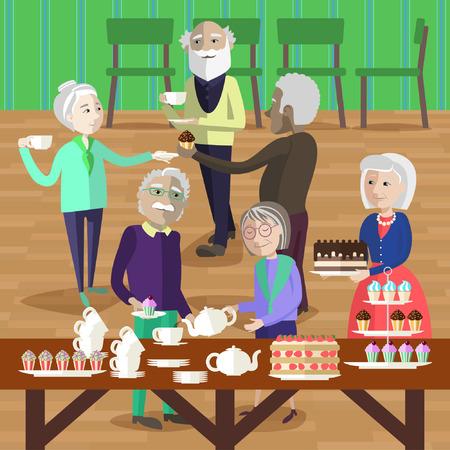 Las personas mayores tienen una fiesta de té. Las personas maduras tratan a tomar el té y tarta. Foto de archivo - 58521369