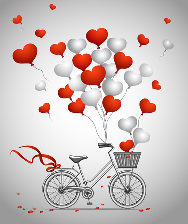 balloon love: Greeting Card with Bicycle and Hearts Balloons Illustration