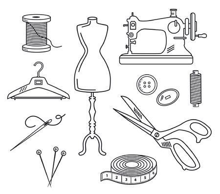vintage fashion: Tailoring Set Vector Illustration in Linear Style