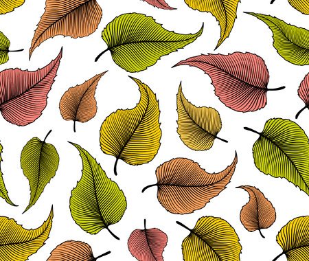 repeatable texture: Decorative Seamless Pattern with Leaves.Colored Leaves repeatable background. Foliage texture