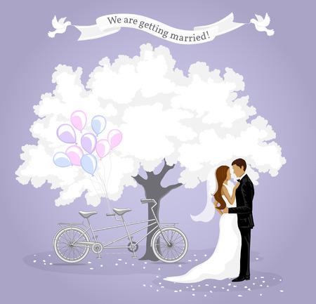 Estamos consiguiendo la tarjeta de invitación casada. Modelo de la invitación de la boda. Antecedentes anuncio con novia y el novio, árbol blanco, tándem de la bici, globos y palomas blancas. La tarjeta de fecha. Ilustración de vector