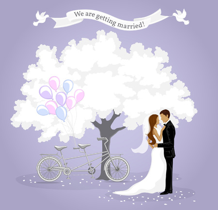 We are getting married invitation card. Wedding Invitation template. Announcement Background with Bride and Groom, White Tree, Tandem Bike, Balloons and White Pigeons. Save the Date Card.