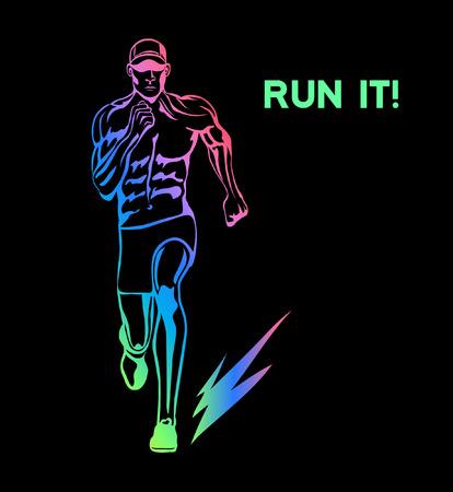 Run It Cartel de motivación. Ejecución de la ilustración de la silueta del hombre frente Vista del vector