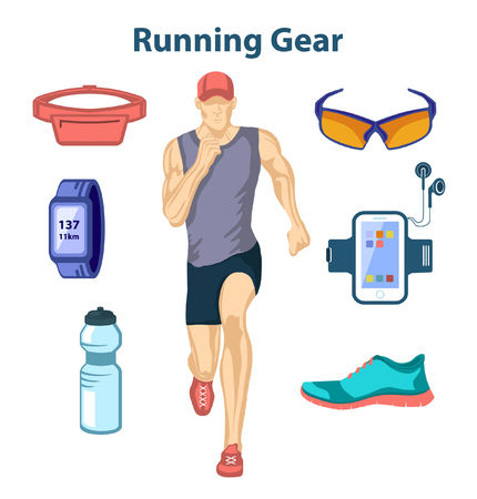 running: Running Man Vector Illustration. Running Gear. Accessories for Run and Outdoor Cardio Workout. Illustration