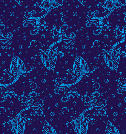 underwater fishes: Stiylized Fishes Seamless Pattern. Underwater Texture. Fishes Background. Deep Blue Water Backdrop with Bubbles and Fishes