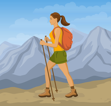 woman hiking: Woman Mountains Hiking. Girl Trekking in Mountains