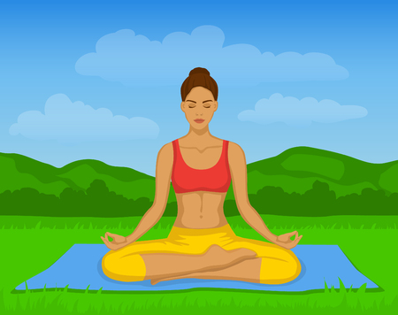 yoga outside: Woman doing Yoga Meditation in Lotus Pose Outside Vector Illustration. Woman meditating. Yoga Meditation Outdoor Class Illustration