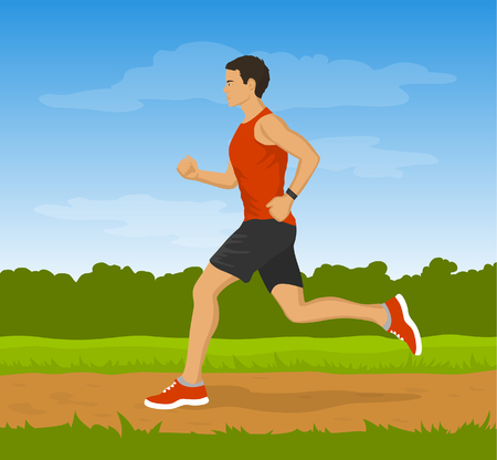 jogging in park: Running Man in the Park. Outdoor Cardio Work out. Jogging Man Outside