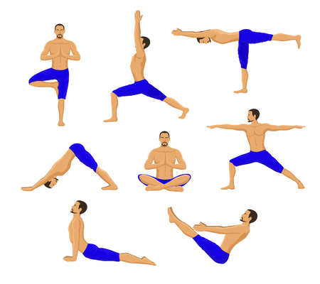 Man Doing Yoga. Yoga Asanas. Tree Yoga Pose, Warrior 1, Warrior 2, Warrior 3, Boat Yoga Asana, Lotus Meditation Pose, Downwards Facing Dog Yoga Pose, Upwards Facing Dog Yoga Asana.