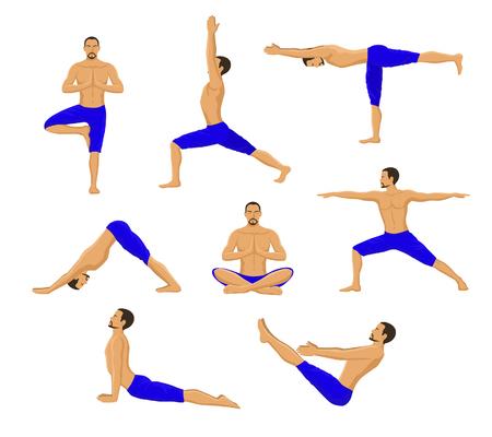 Man Doing Yoga. Yoga Asanas. Tree Yoga Pose, Warrior 1, Warrior 2, Warrior 3, Boat Yoga Asana, Lotus Meditation Pose, Downwards Facing Dog Yoga Pose, Upwards Facing Dog Yoga Asana.