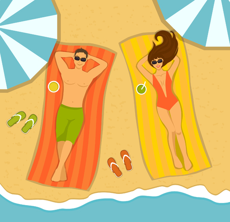 hot couple: Couple on the beach top view. Man and Woman sunbathing on striped towels on a beach. Summer Time Vector Illustration