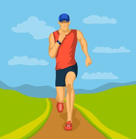 cardio workout: Running Man Outdoor Vector Illustration. Outdoor Cardio Workout.