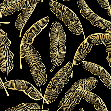 banana leaf: Golden Banana Leaves Seamless Pattern. Gold On Black Seamless Texture With Banana Leaf