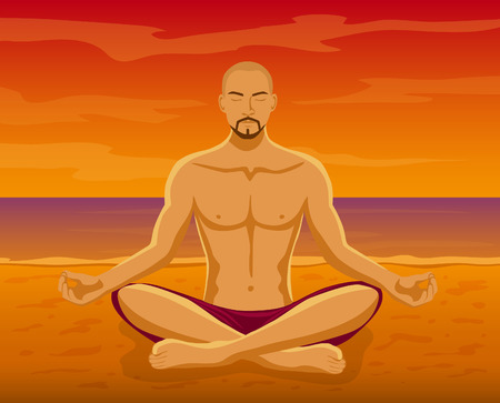 yoga sunset: Man doing Yoga Meditation on the beach during Sunset Vector Illustration. Man meditating in Lotus Pose at the seaside. Yoga Meditation Outdoor Illustration