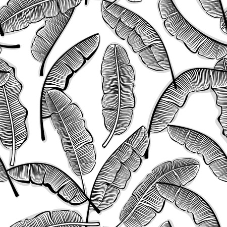 banana: Black and White Banana Leaves Seamless Pattern