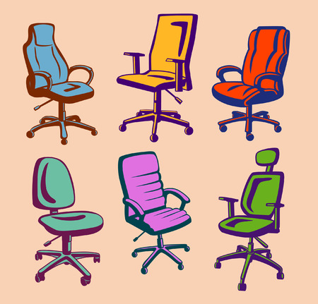 office chairs: Office Chairs Set. Colorful Executive Office Chairs Collection