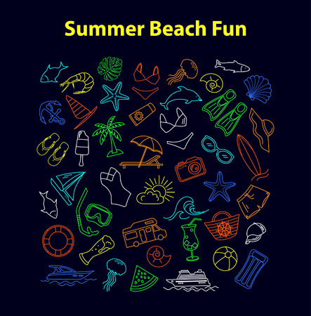 watermelon boat: Summer Beach Line Objects Set. Palm, sun chair, seafood, summer drinks, beer, beach food,  clothing, palm, surf board, yacht, ship, swimsuits, seashell, jellyfish, fishes, snorkling mask, flippers, camper, etc Illustration