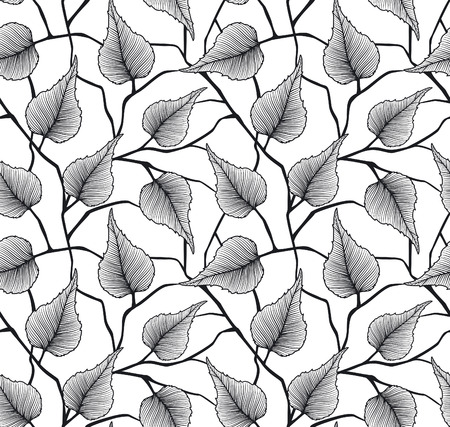 birch leaf: Decorative Seamless Pattern with Leafs (Leaves). Birch leaf repeatable background.Foliage Black and White texture Illustration