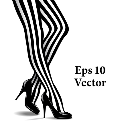 Vector Illustration of Female Legs in Striped Stockings and Black High Heeled Shoes 일러스트