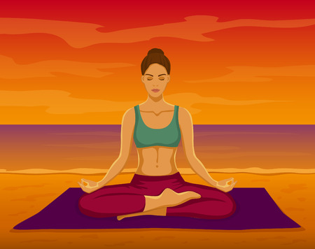 yoga sunset: Woman doing Yoga Meditation on the beach during Sunset Vector Illustration. Woman meditating in Lotus Pose at the seaside. Yoga Meditation Outdoor